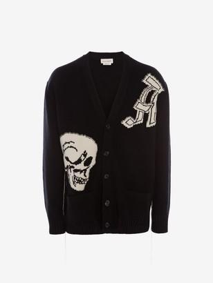 Alexander McQueen Gothic Skull Intarsia Knit Cardigan