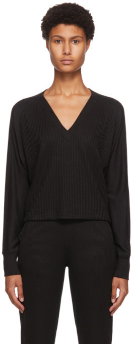 Rag & Bone Black The Knit V-Neck Sweater