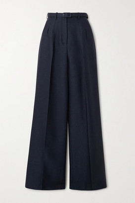 Gabriela Hearst Vargas Belted Wool And Silk-blend Wide-leg Pants - Navy