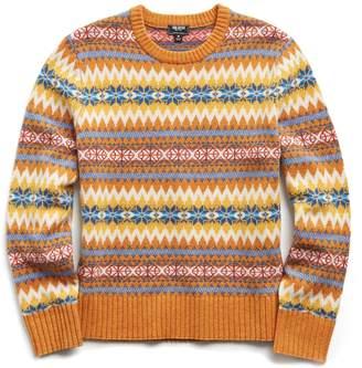 Todd Snyder Wool Fairisle Crewneck Sweater in Gold