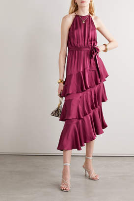 Zimmermann Tiered Ruffled Silk-satin Midi Dress - Plum