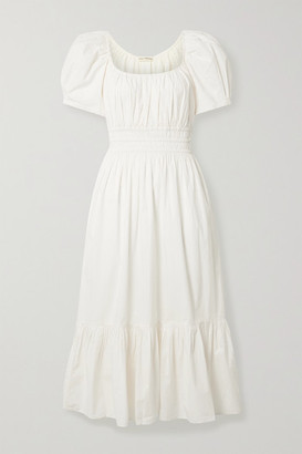Ulla Johnson Isla Ruffled Cotton-poplin Midi Dress - Cream