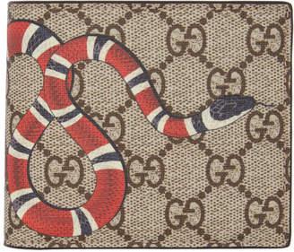 Gucci Beige GG Supreme Kingsnake Wallet