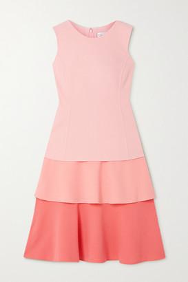Oscar de la Renta Tiered Wool-blend Crepe Midi Dress - Pink