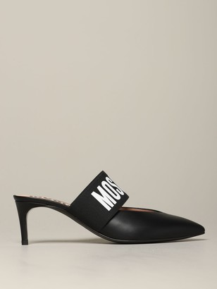 Moschino Leather Sandal With Logo