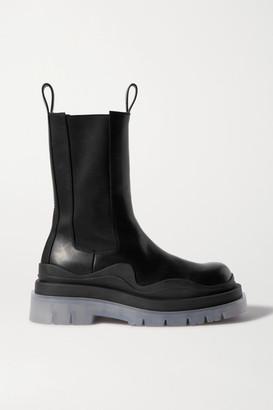 Bottega Veneta Rubber-trimmed Leather Chelsea Boots - Black