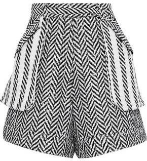 Oscar de la Renta Sequin-embellished Herringbone Tweed Shorts