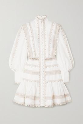 Zimmermann Super Eight Corded Linen Mini Dress - Ivory