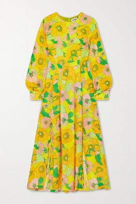 Rixo Emma Pleated Floral-print Modal Midi Dress - Yellow