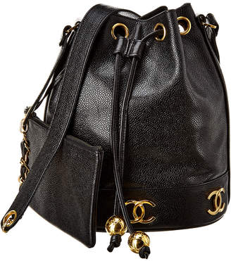 Chanel Black Caviar Leather 3Cc Bucket Bag