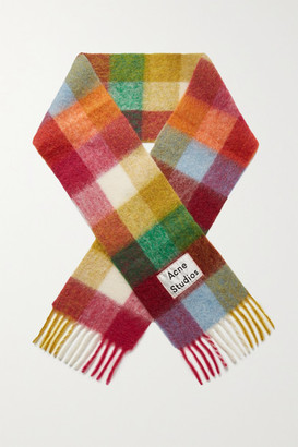 Acne Studios Valley Fringed Checked Knitted Scarf - Pink
