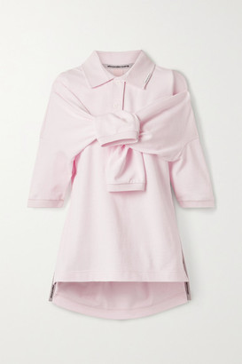 Alexander Wang Tie-front Cotton-jersey Polo Shirt - Baby pink