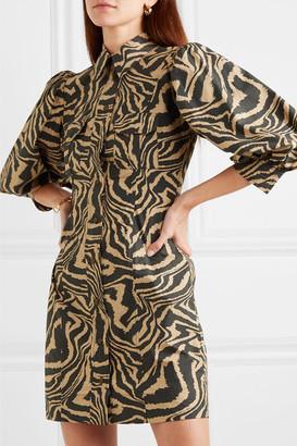 Ganni Tiger-print Cotton-poplin Mini Dress - Sand