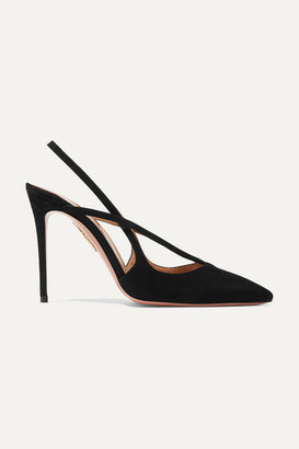 Aquazzura Soul 105 Suede Slingback Pumps - Black