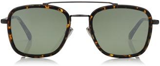 Jimmy Choo JOHN Havana Red and Dark Ruthenium Matt Square Frame Sunglasses with Mirror Lenses