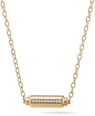 David Yurman Barrels Pave Diamond & 18K Yellow Gold Station Necklace