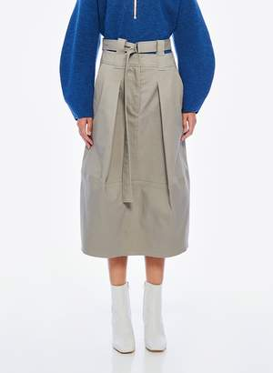 Tibi Myriam Twill Double Waisted Sculpted Skirt