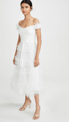 Marchesa Off Shoulder 3D Floral Stripe Tulle Tea Length Gown