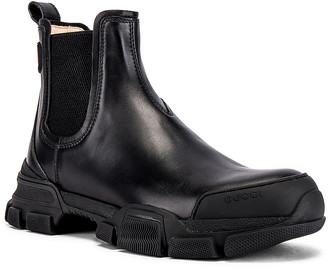 Gucci Leon Chelsea Boot in Black & Black | FWRD
