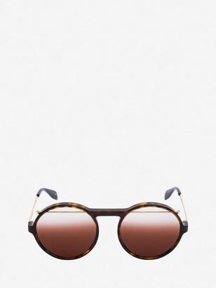Alexander McQueen Acetate Round Piercing Sunglasses