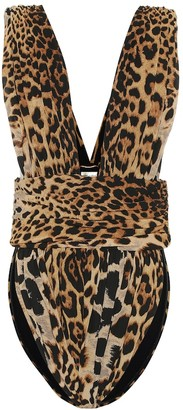 Saint Laurent Leopard silk bodysuit