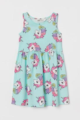 H&M Patterned Jersey Dress - Green