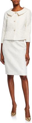 Albert Nipon Rose Jacquard Two-Piece Jacket & Dress Set