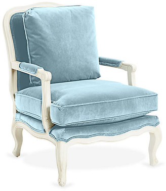 One Kings Lane Augusta Bergere - Sky Blue Velvet
