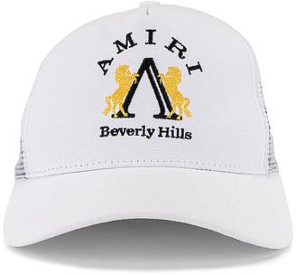 Amiri Beverly Hills Trucker Hat in White | FWRD