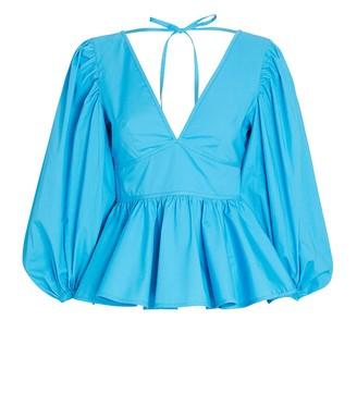 STAUD Luna Poplin Puff Sleeve Top