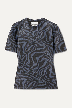 Ganni Metallic Tiger-print Stretch-jersey Top - Blue