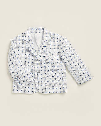 Manuell & Frank (Newborn/Infant Boys) White & Bright Blue Two-Button Jacket