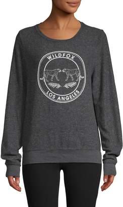 Wildfox Couture Logo Graphic Fleece Sweatshirt