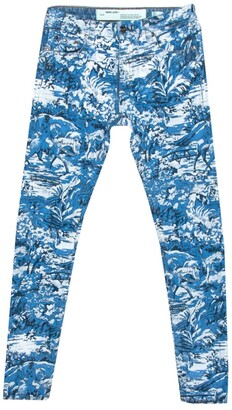 Off-White Blue Tapestry Pattern Printed Denim Skinny Jeans S