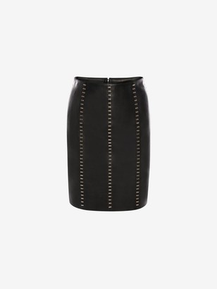 Alexander McQueen Stapled Leather Mini Skirt