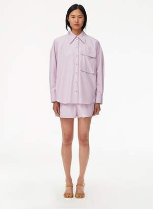 Tibi Tissue Faux Leather Pull On Short