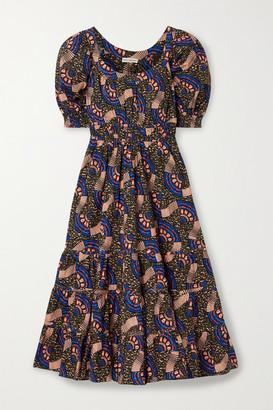 Ulla Johnson Juniper Floral-print Cotton-poplin Midi Dress - Army green