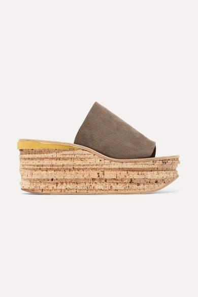 Camille Suede Wedge Sandals Dark gray
