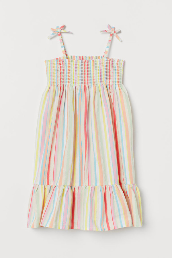 H&M Smocked Cotton Dress - Pink