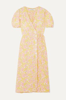 Faithfull The Brand Fran Floral-print Crepe Midi Wrap Dress - Pastel yellow