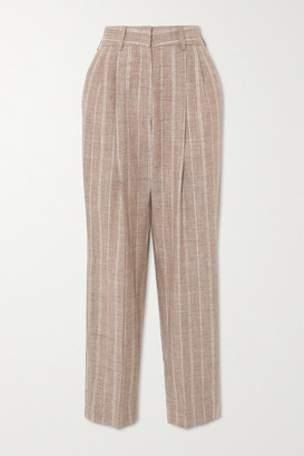 BLAZÉ MILANO Wind Hunter Banker Pinstriped Grain De Poudre Straight-leg Pants - Sand