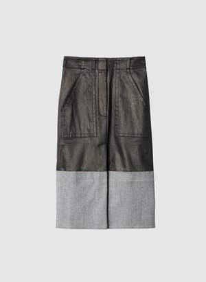 Tibi Coated Denim Cargo Skirt