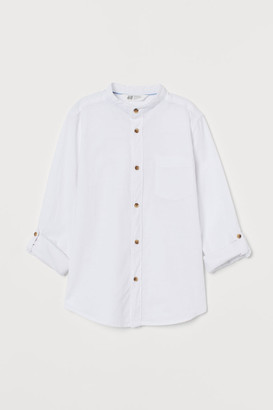H&M Band-collar Shirt - White