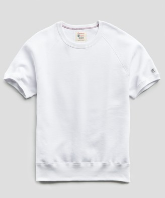 Todd Snyder + Champion Fleece Short Sleeve Sweatshirt in White