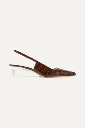 REJINA PYO Lois Croc-effect Leather Slingback Pumps - Brown