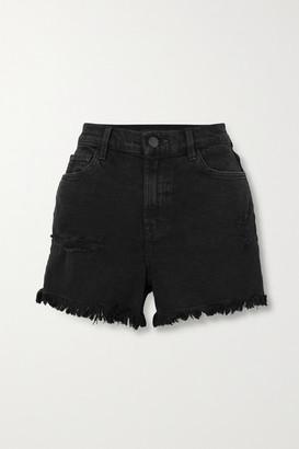 J Brand Jules Frayed Denim Shorts - Black