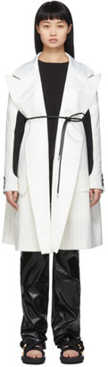 Sacai Off-White Lame Pinstripe Coat