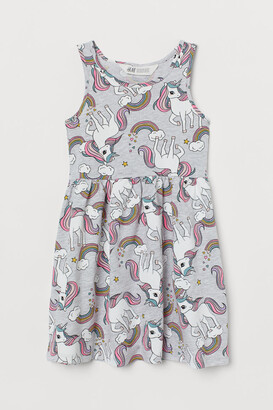 H&M Patterned Jersey Dress - Gray