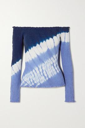 Altuzarra Misu Off-the-shoulder Tie-dyed Shirred Silk Crepe De Chine Top - Blue