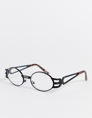 clear ASOS DESIGN oval fashion glasses in black metal with arm detail and lenses